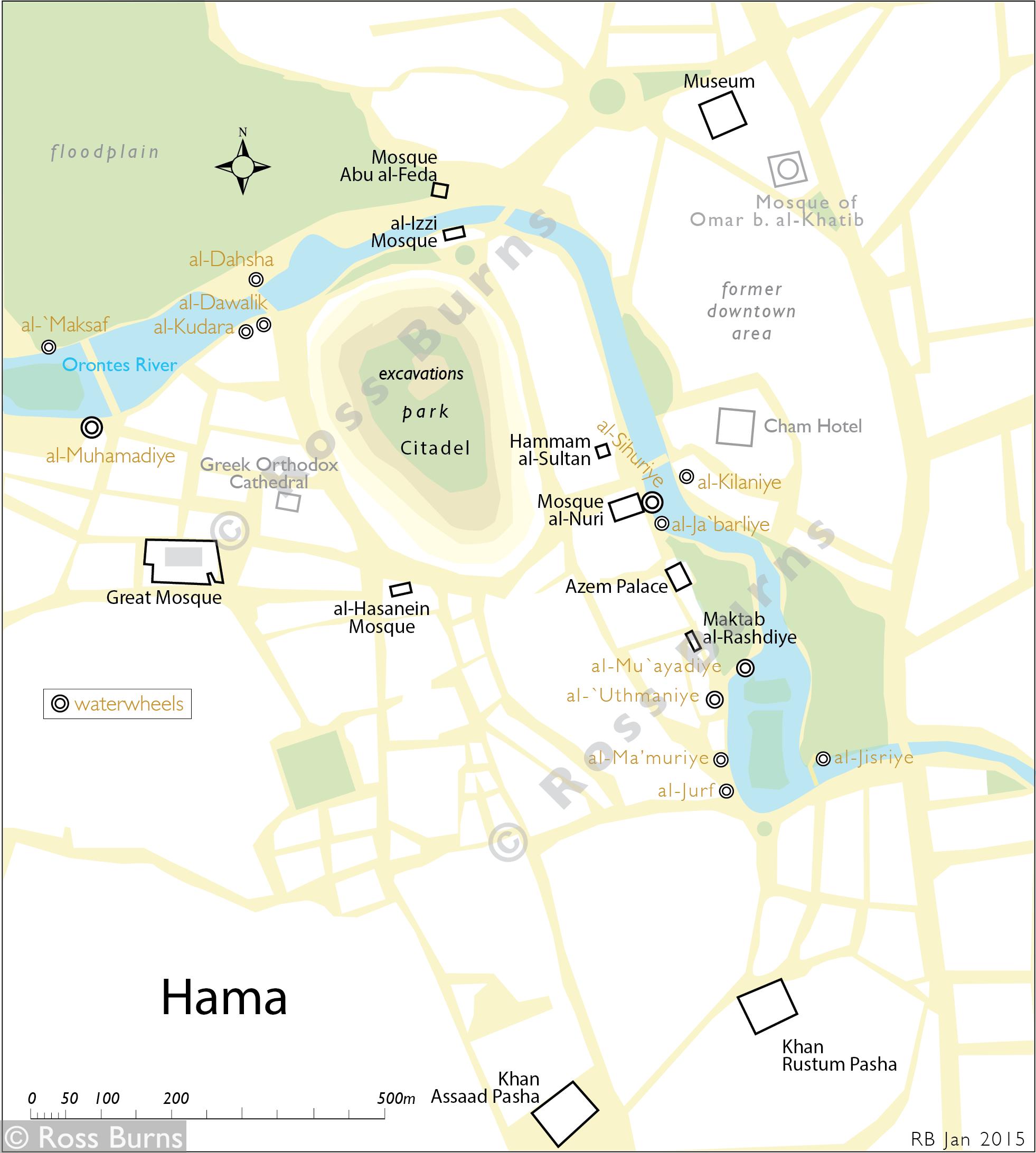 Hama map Jan 2015   Monuments of Syria أوابد سورية